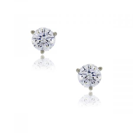 You are viewing these 14k White Gold Martini Style Round Brilliant Diamond Stud Earrings!