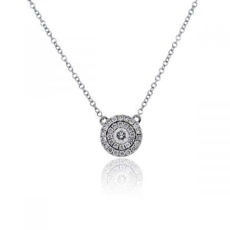 You are viewing this 14k White Gold Double Halo Diamond Pendant Chain Necklace!