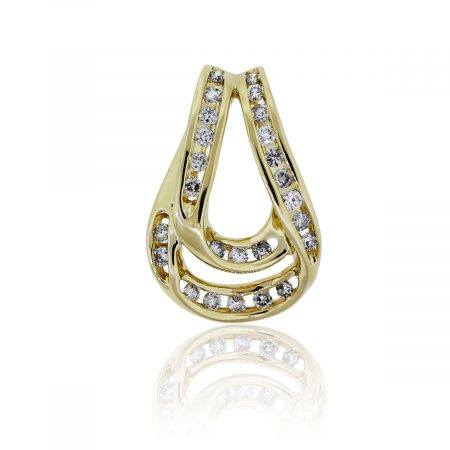 You are viewing this 14k Yellow Gold Round Brilliant Cut Diamond Slide Pendant!