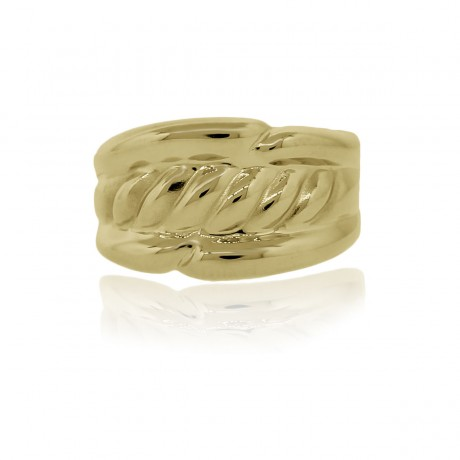 18k Yellow Gold Ribbed Cocktail Ring