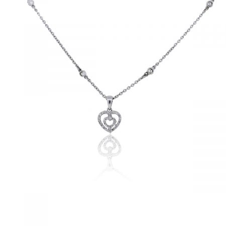 You are viewing this 14k White Gold Diamonds by the Yard Heart Shape Diamond Slide Pendant Necklace!