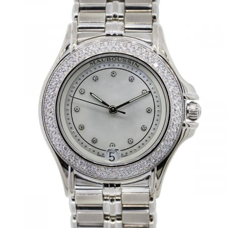 You are viewing this Mauboussin 18k White Gold Diamond Automatic Ladies Watch!