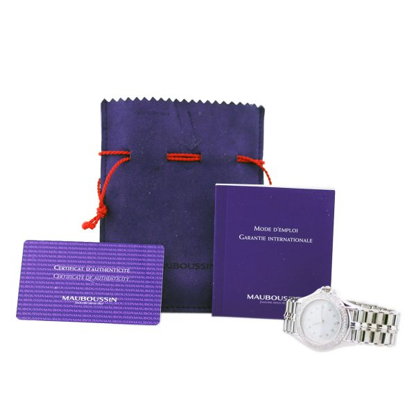 Mauboussin 18k White Gold Diamond Automatic Ladies Watch box and papers
