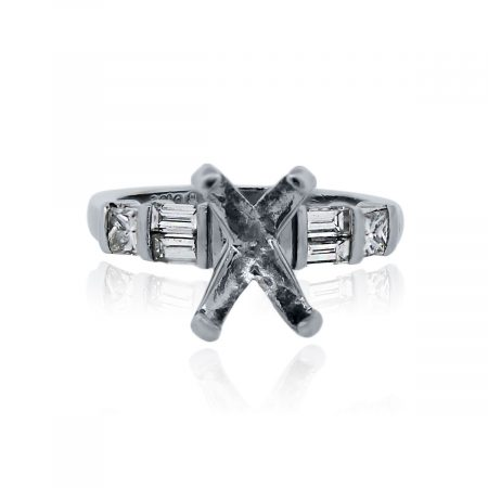 You are viewing this Platinum Baguette Princess Cut Wedding Band Ring Mounting!
