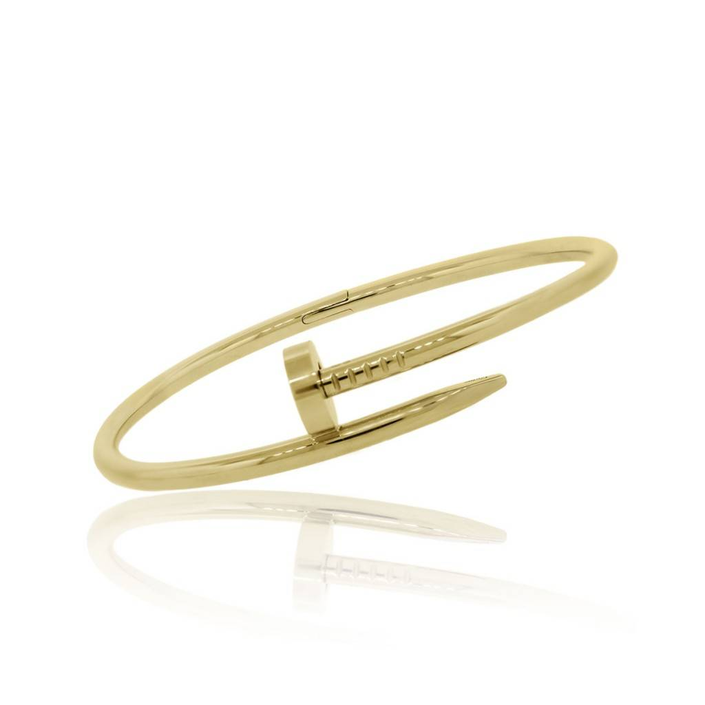 Cartier Yellow Gold Juste Un Clou Nail Bangle Bracelet Size 18