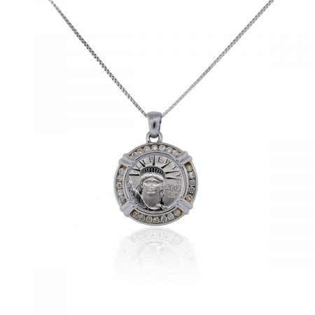 You are viewing this Platinum Statue of Liberty Coin Diamond Pendant on 14k White Gold Necklace!