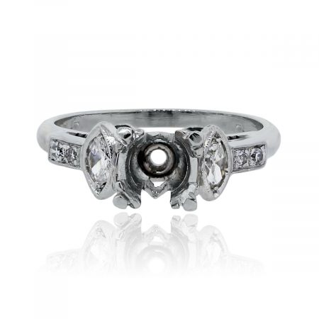 You are viewing this Platinum Mounting with Marquise Shape Diamonds Engagement Ring!