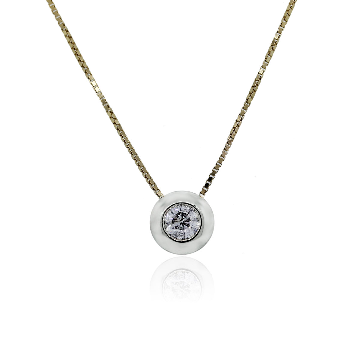 You are viewing this 14k Yellow Gold .50ct Round Brilliant Diamond Bezel Set Pendant Necklace!