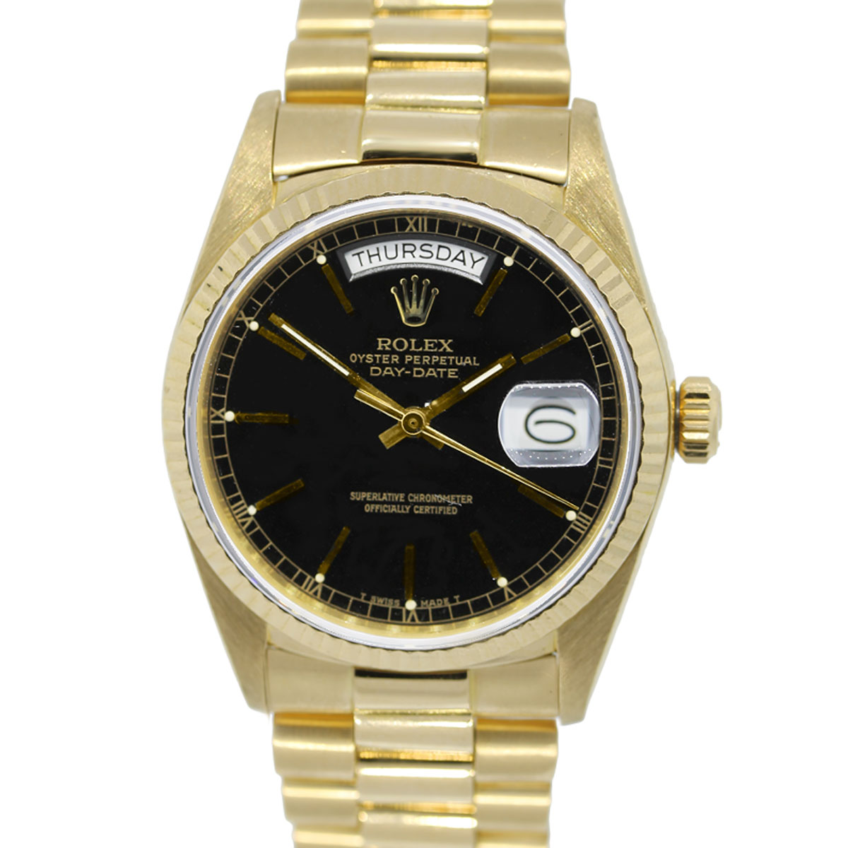 You are viewing this 18k Yellow Gold Rolex 18038 Single Quickset Black Dial Presidential Watch!