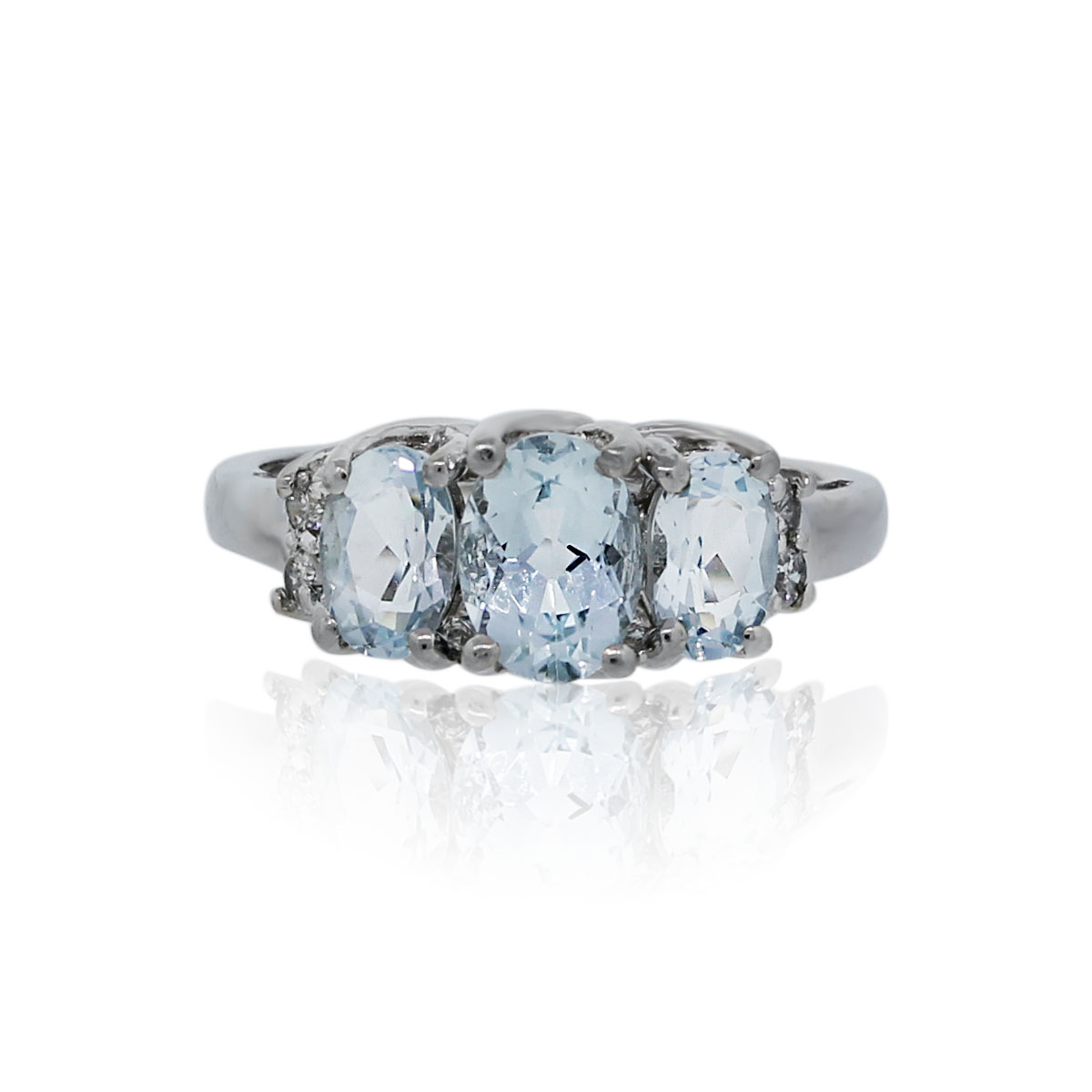 You are viewing this 14K White Gold Blue Oval Topaz Diamond Ring!