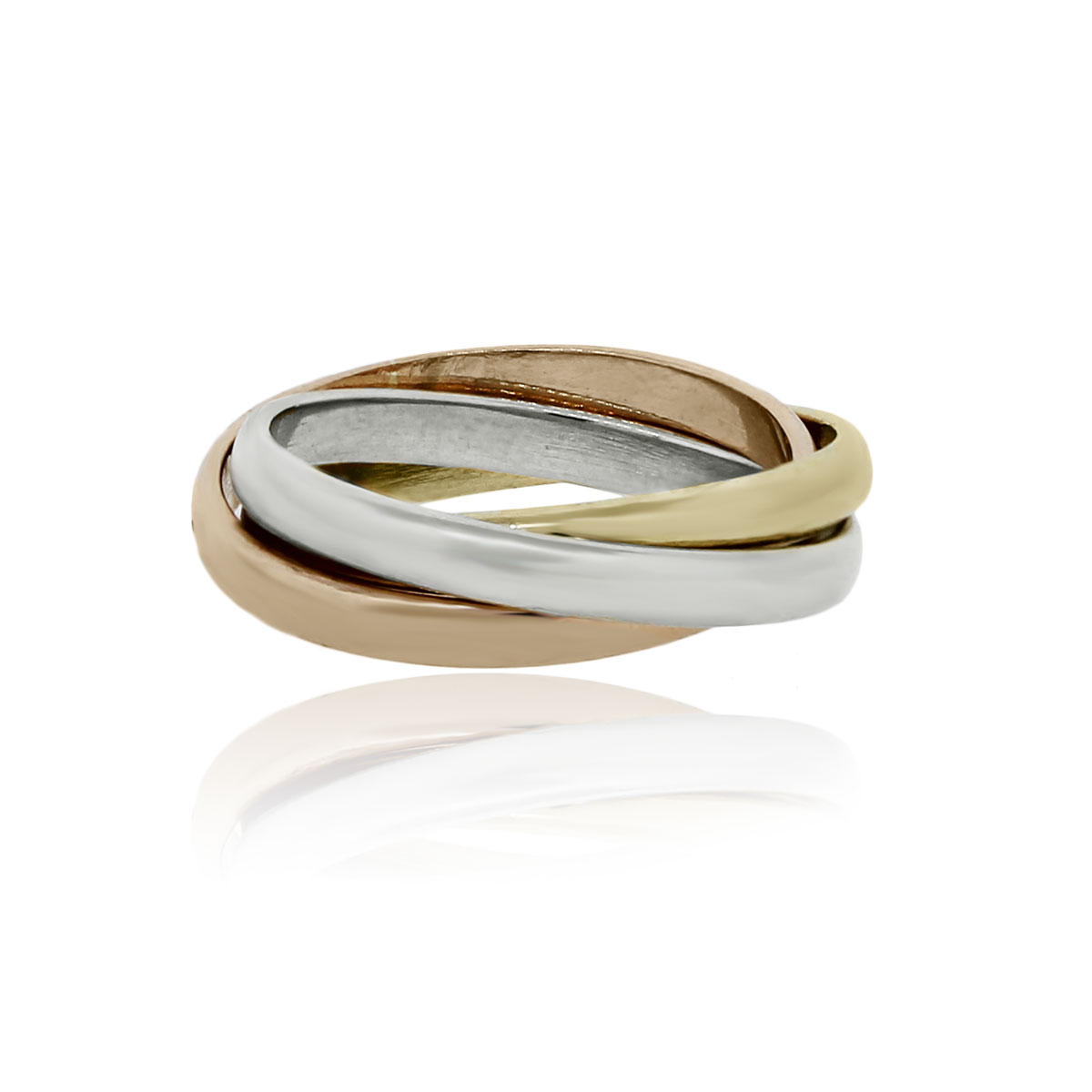18k Tri Color Gold Rolling Ring Style Wedding Band Ring