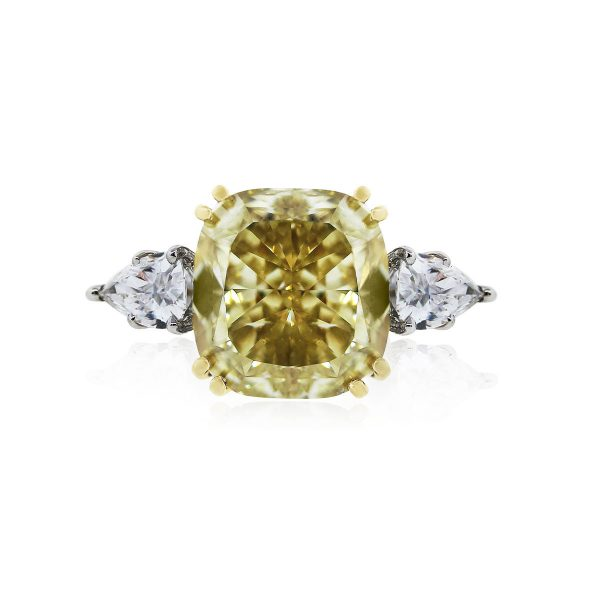 You are viewing this Platinum Fancy Yellow Cushion Pear Shape Diamond Engagement Wedding Band Ring!