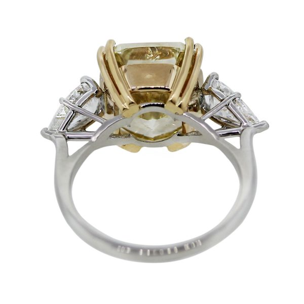 Platinum Fancy Yellow Cushion Pear Shape Diamond Engagement Wedding Ring