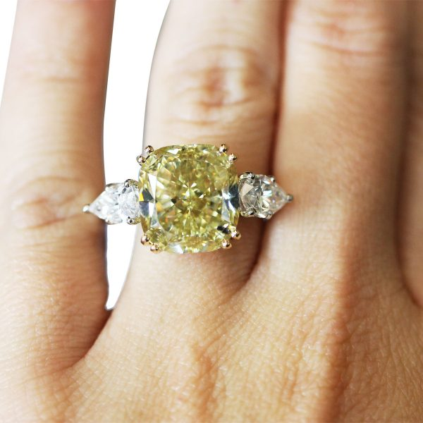 Platinum Fancy Yellow Cushion Pear Shape Diamond Engagement Wedding Band