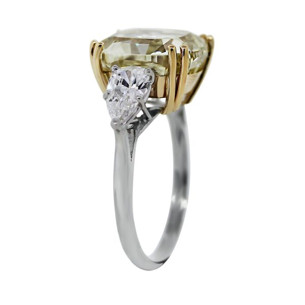Platinum Fancy Yellow Cushion Pear Shape Diamond Engagement Ring