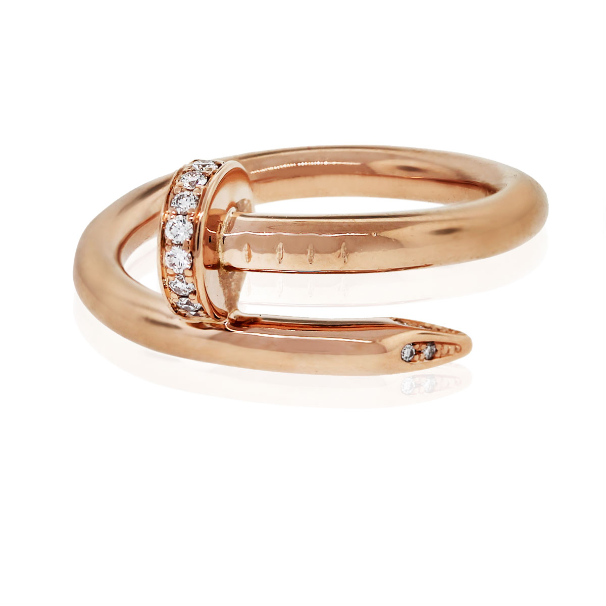 Cartier Juste Un Clou 18k Pink Gold Diamond Pave Nail Ring