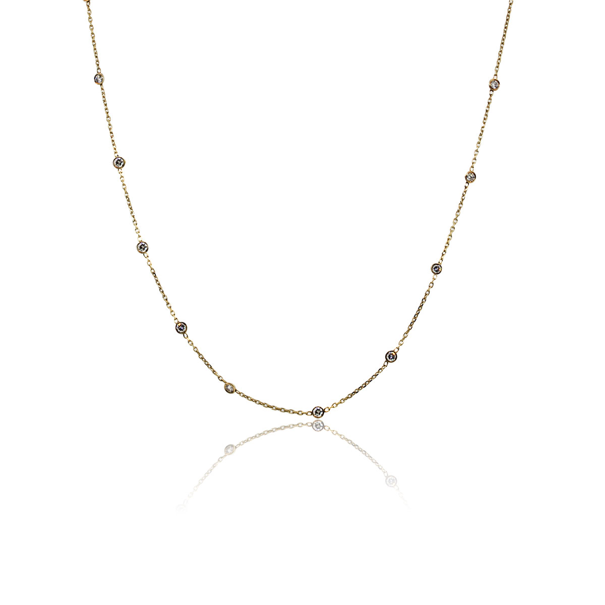 "You are viewing this 14k Yellow Gold Diamonds by The Yard 32"" Necklace!"