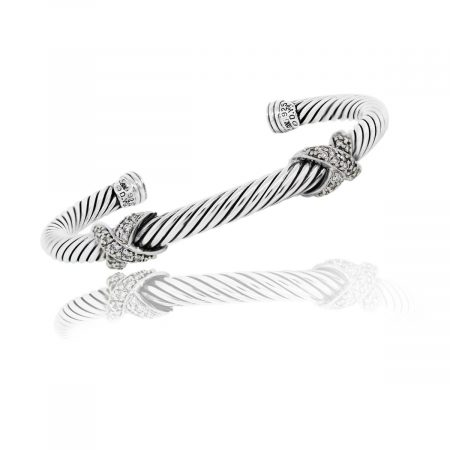 You are viewing this David Yurman Sterling Silver 5mm Diamond X Bangle Bracelet!