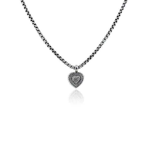 You are viewing this David Yurman Sterling Silver Diamond Heart Pendant Necklace!