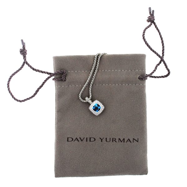 David Yurman Albion Pendant with Blue Topaz and Diamonds on Chain Necklace Pouch
