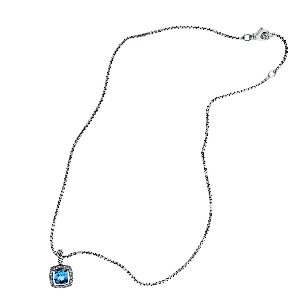 David Yurman Albion with Blue Topaz and Diamonds on Chain Necklace