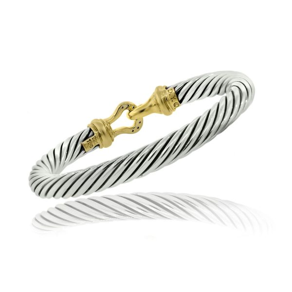 You are viewing this David Yurman 18k Yellow Gold Sterling Silver 7mm Cable Diamond Buckle Bracelet!
