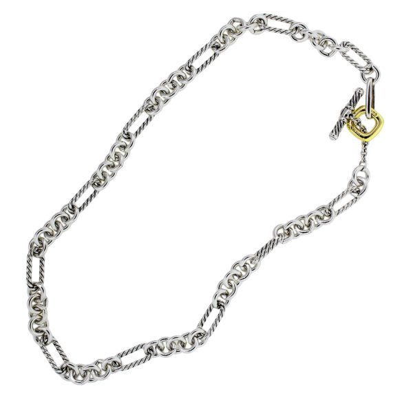 David Yurman Sterling Silver 18k Yellow Gold Chain Necklace