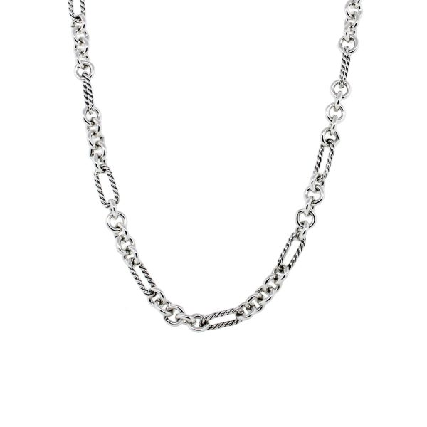 David Yurman Sterling Silver 18k Gold Link Chain Necklace