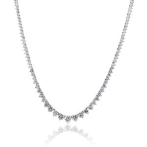 14k White Gold 17ctw Diamond Graduated Tennis Necklace