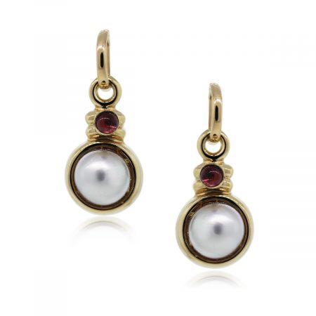 You are Viewing this Stunning Garnet and Pearl Drop Dangle Earrings