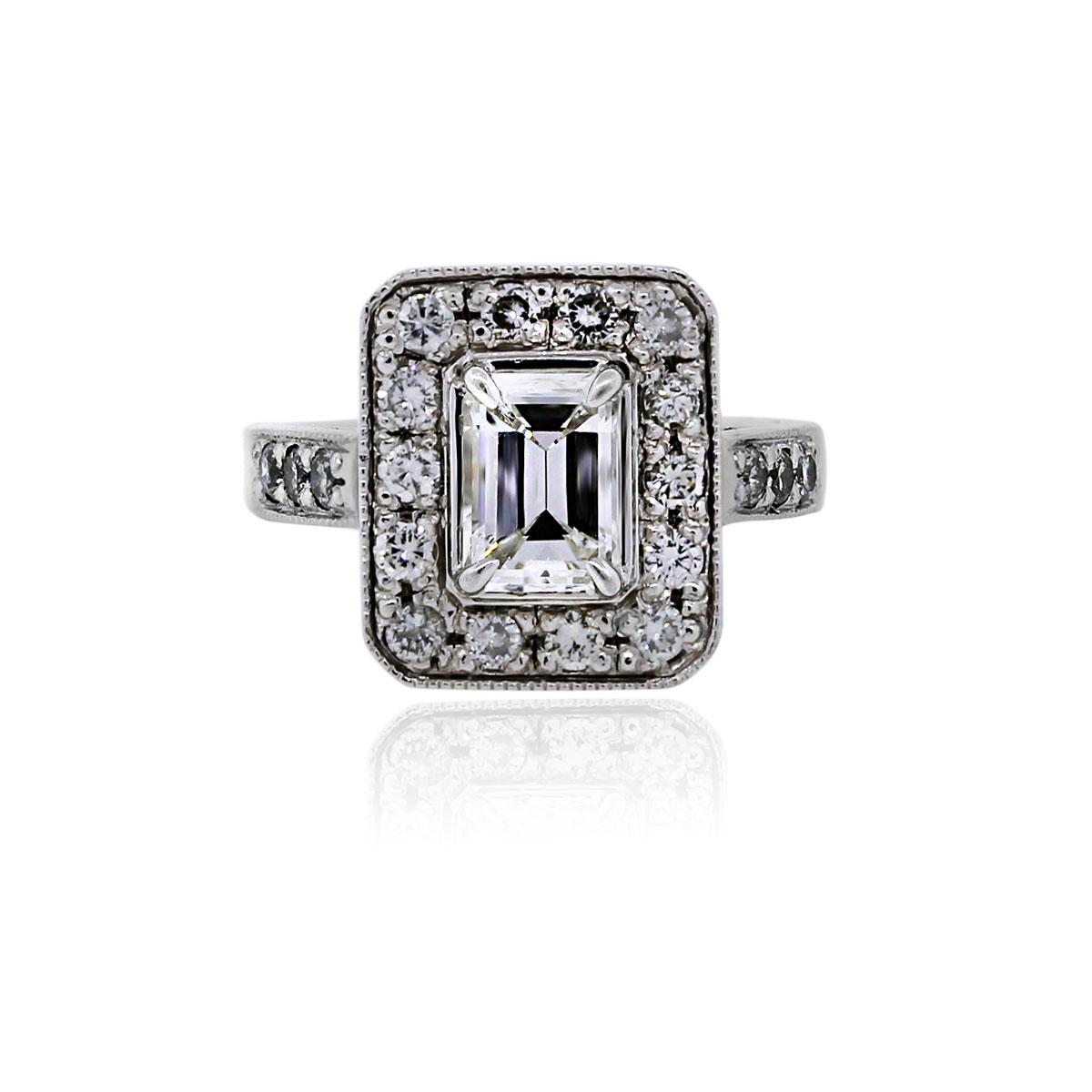 You are viewing this 14k White Gold 1.10ct Emerald Cut Diamond Engagement Ring!