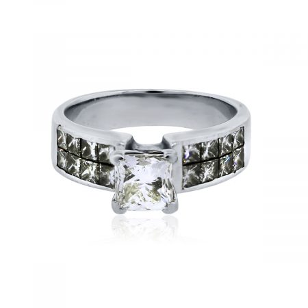 You are viewing this 18k White Gold 1ct Princess Cut Diamond Engagement Ring!