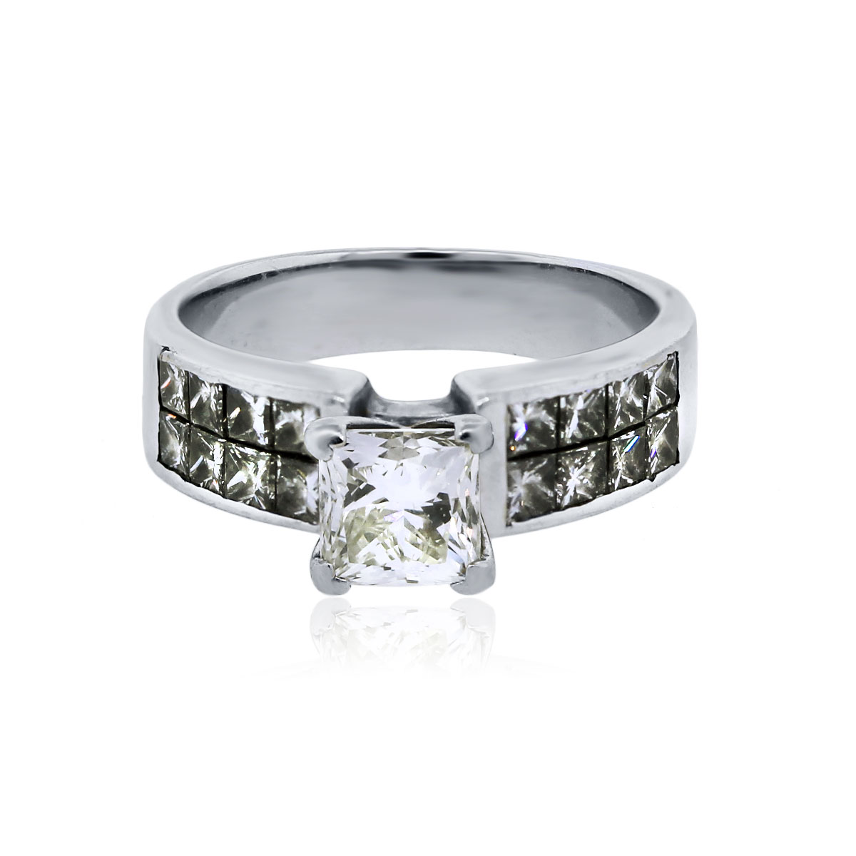 18k white gold 1ct princess cut diamond engagement ring. Black Bedroom Furniture Sets. Home Design Ideas