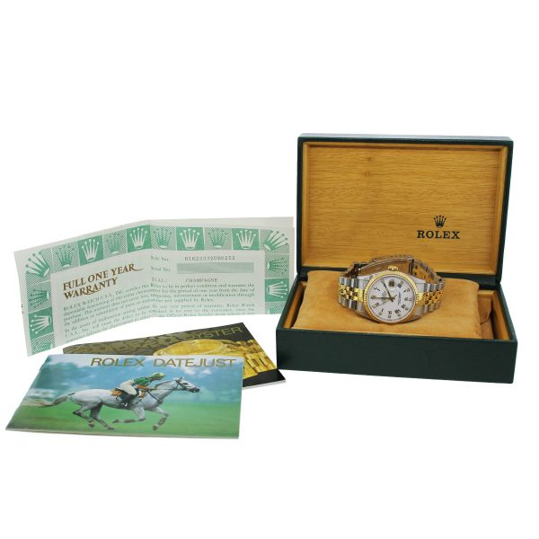 Rolex Datejust 16233 Two Tone Gold White Dial Watch Box and papers