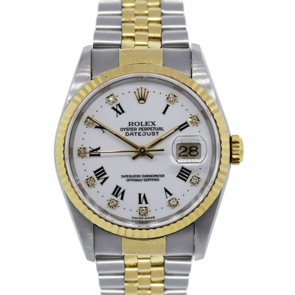 You are viewing this Rolex Datejust 16233 Two Tone Gold White Dial Watch!