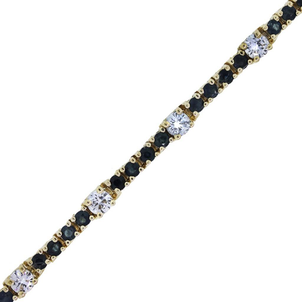 14k yellow gold sapphire and diamond tennis bracelet. Black Bedroom Furniture Sets. Home Design Ideas