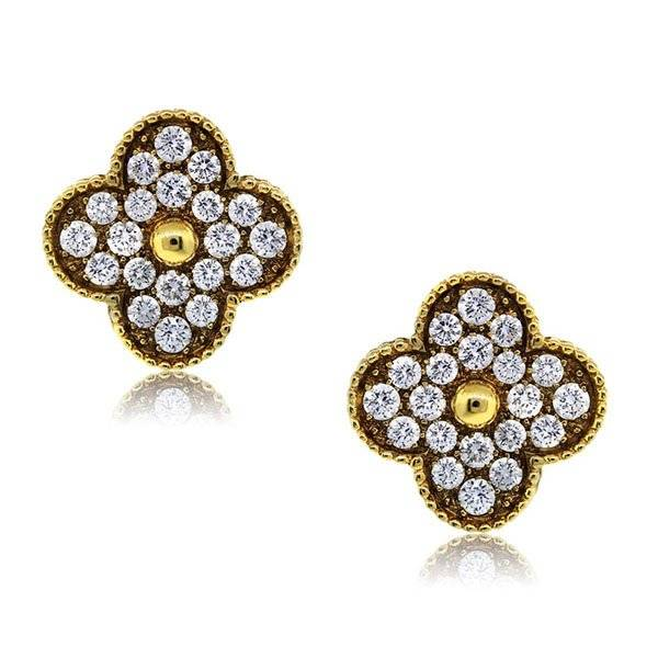 Van Cleef Vintage Alhambra Yellow Gold Pave Diamond Large Earclips