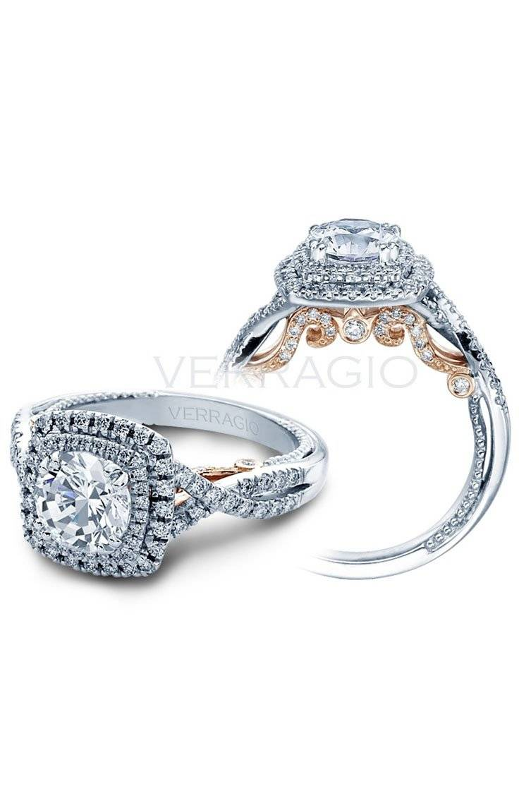 Verragio rose gold and white gold double halo ring