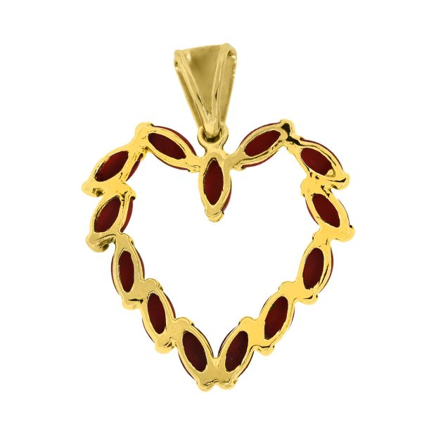Yellow Gold Coral Open Heart Slide Pendant