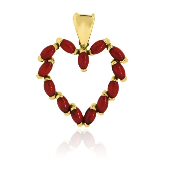 You are viewing this18k Yellow Gold Coral Open Heart Slide Pendant!