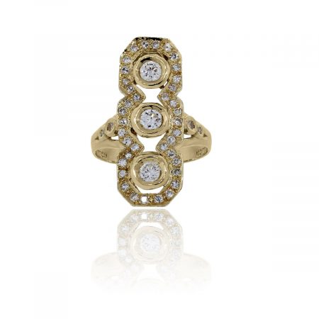 You are viewing this 14k Yellow Gold Round Brilliant Diamonds Cocktail Ring!