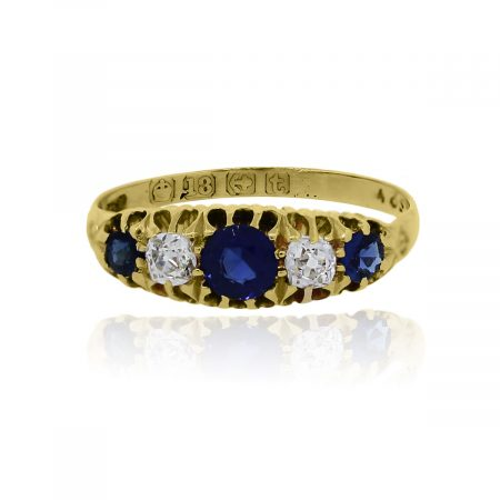 You are viewing this 18k Yellow Gold Diamond Sapphire Vintage Ring!