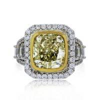 5.62ct Fancy Light Yellow Cushion Cut Diamond Engagement Ring