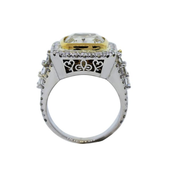 Amazing 5.67ct Cushion Cut Fancy Yellow Diamond Ring