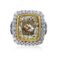 10.67 ct Cushion Cut Fancy Yellow Diamond Engagement Ring