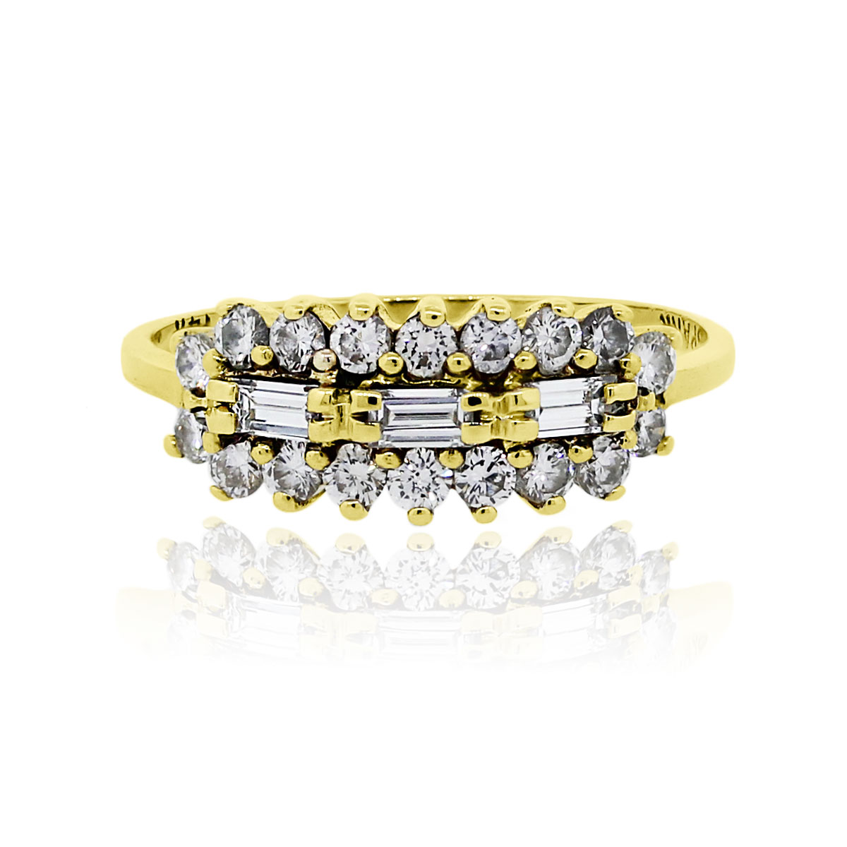 You are viewing this 14k Yellow Gold Baguette Round Brilliant .50ctw Diamond Band Ring!