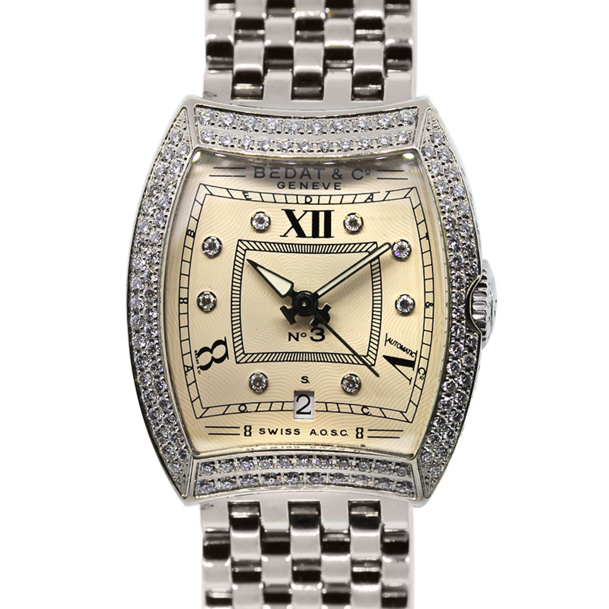 You are viewing this Bedat & Co. White Gold Diamond Bezel Ladies Watch!
