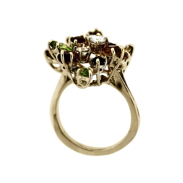 Yellow Gold Diamond and Semi Precious Gemstone Cluster Cocktail Ring
