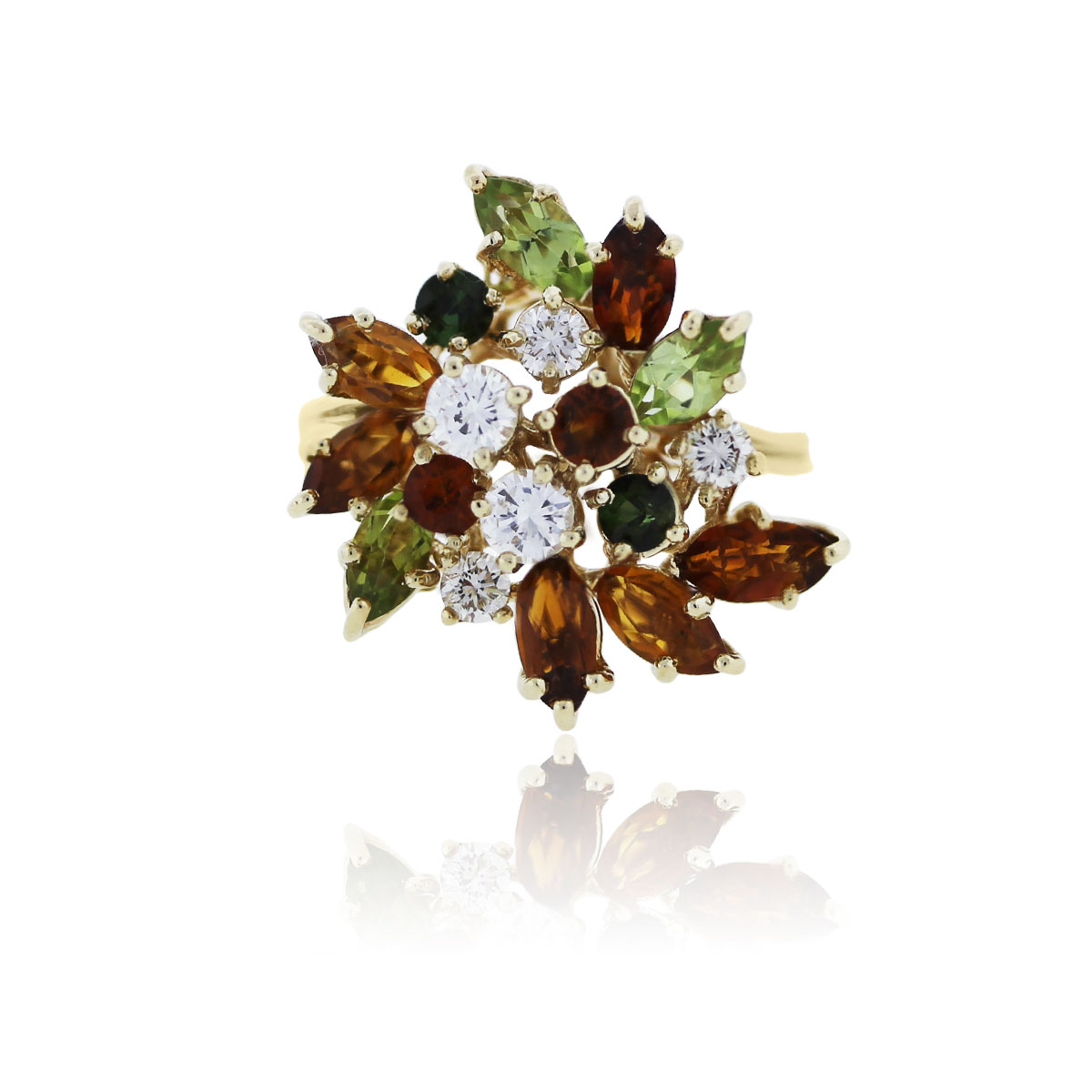 You are viewing this 14k Yellow Gold Diamond and Semi Precious Gemstone Cluster Cocktail Ring!