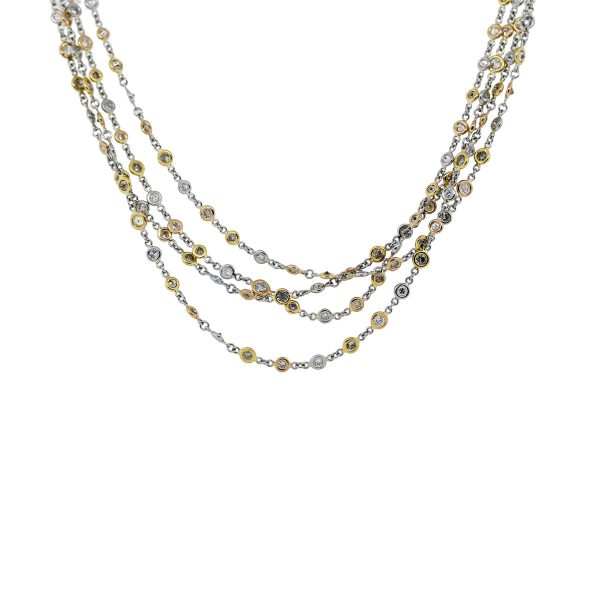 Platinum 18k Yellow Gold Diamonds by The Yard Necklace
